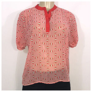 Red Pink and White Print Blouse X-Small